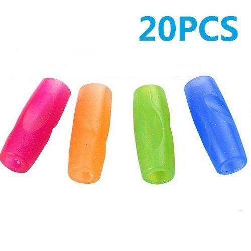 UDTEE 20PCS PinkOrangeGreenBlue Color Rubber Material Pencil Grip Universal Ergonomic Writing Aid Assorted Colors