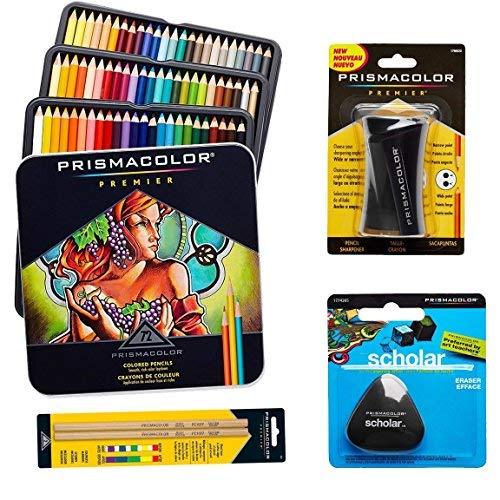 Prismacolor 72-Count Colored Pencils Triangular Scholar Pencil Eraser Premier Pencil Sharpener and Colorless Blender Pencils