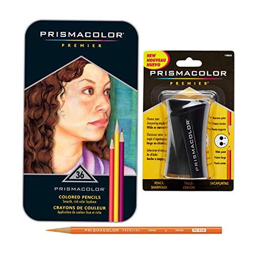 Prismacolor Premier Colored Pencils Soft Core 36 Pack with Pencil Sharpener