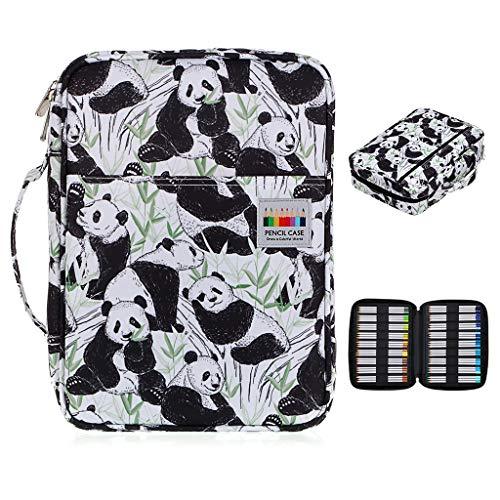 BTSKY Colored Pencil Case 220 Slots Pen Pencil Bag Organizer with Handy Wrap Portable- Multilayer Holder for Prismacolor Crayola Colored Pencils Gel PenNew 220 Black&White Panda