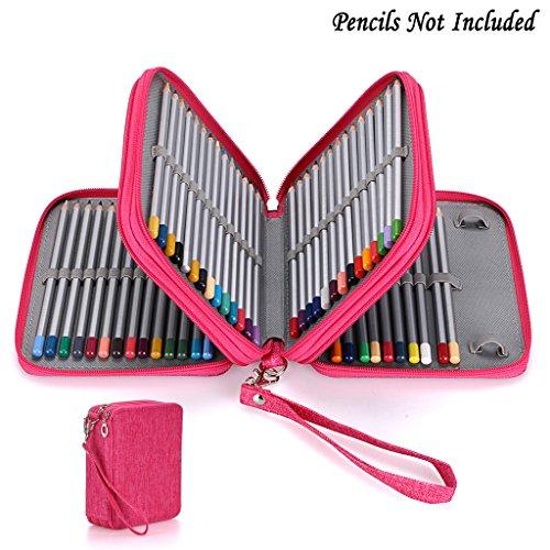 BTSKY Zippered Pencil Case-Canvas 72 Slots Handy Pencil Holders for for Prismacolor Watercolor Pencils Crayola Colored Pencils Marco Pencils Pink