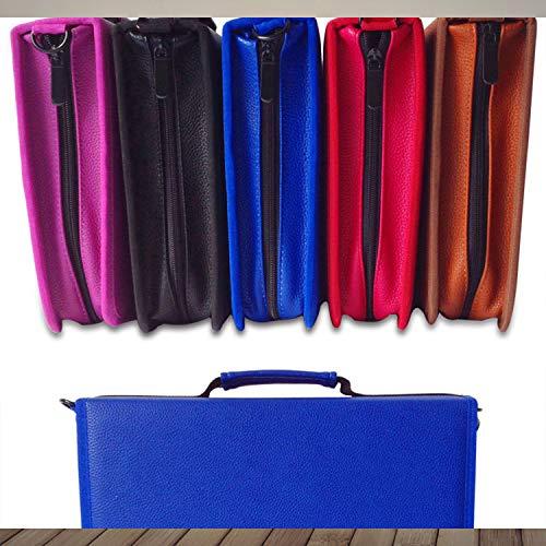 Portable Diagonal 160-hole Folding Multi-Function Painting Pen Bag Large-Capacity Fashion Pencil Bag for Prismacolor Watercolor Pencil Crayola Colored Pencil Marco Pens Gel Pen Purple