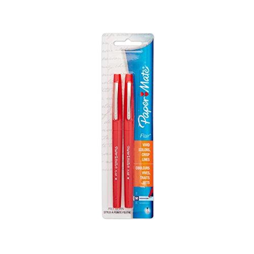 Paper Mate Flair Porous-Point Felt Tip Pen Medium Tip 2-Pack Red 8422452PP