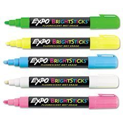 Sanford Wet Bright Sticks Wet-Erase Fluorescent Markers Assorted Fluorescent Colors 14075 2-Pack of 5