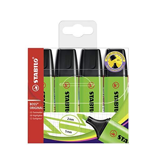 STABILO Boss Original Highlighter Pens - Green Pack of 4
