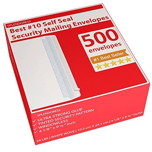 500 Self Seal Security Mailing Envelopes - 10 White Letter Businesses Envelopes -500 Peel and Seal Tinted Windowless  10 Envelope - Printer Friendly - Self Stick Bulk Envelops