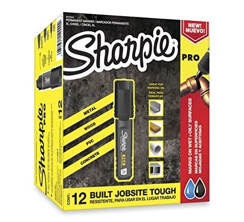 Sharpie Pro Permanent Marker Medium Chisel Tip Black 12-Count Marker 2018326