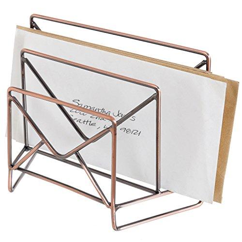 MyGift Rustic Bronze-Tone Metal Envelope-Theme 2-Slot Mail Sorter