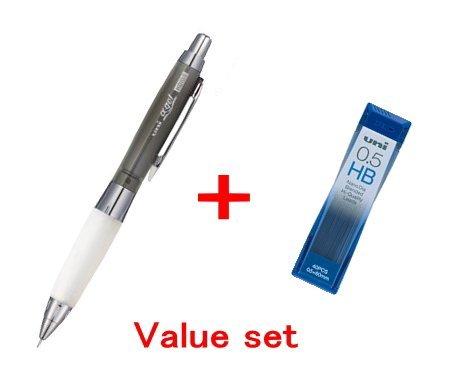 Uni-ball Alpha-gel shaker Mechanical Pencil - Chrome Black- slightly Firm Grip 05mm M5618GG1PC24 Diamond Infused Leads Nano Dia-40 Leads Value setwith Our Shop Original Description of Goods