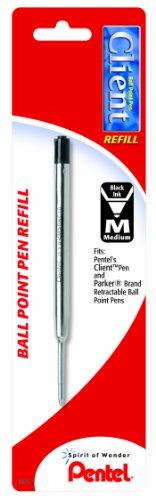 Pentel Refill Ink for BK910 Client Ballpoint Pen Medium Line Black Ink 1 Pack BKC10BPA