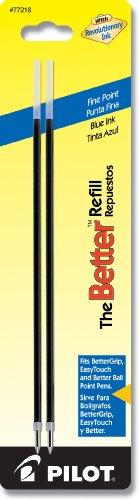 Pilot Ballpoint Ink Refills 2-Pack for Better or EasyTouch Stick Pens Fine Point Blue Ink 77216