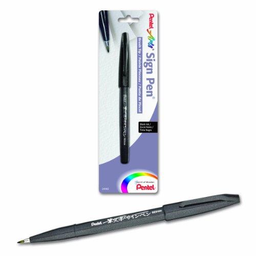 Pentel Arts Sign Pen Touch Fude Brush Tip Black Ink - 1 Pack SES15NBPA