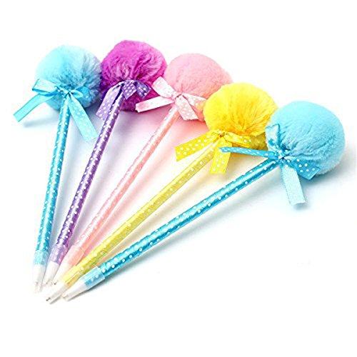 NUOLUX Cartoon Ball Pen Adorable Fluffy Pens Cute Ribbon Ballpoint Ball Pen 5Pcs Random Color