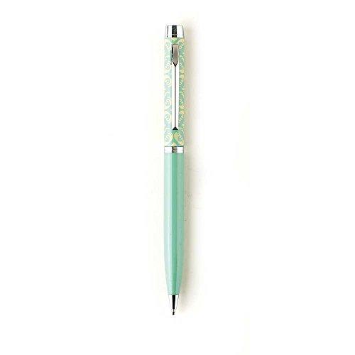 Damask Cross Tan Mint Green Chrome Metal Twist Open Black Ink Ballpoint Pen