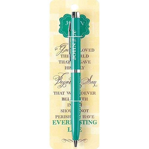 God So Loved the World John 316 Teal Chrome Metal Twist Open Black Ink Ballpoint Pen