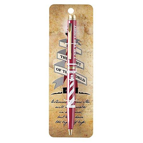 Light of the World Lighthouse Red Metal Twist Open Black Ink Ballpoint Pen