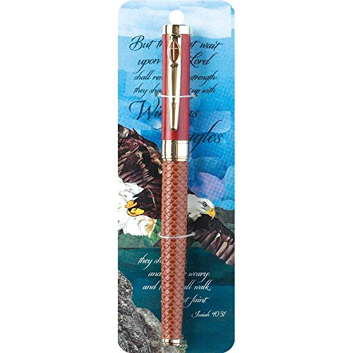 Wings as Eagles Isaiah 4031 Leatherette Woodgrain Capped Black Ink Ballpoint Pen