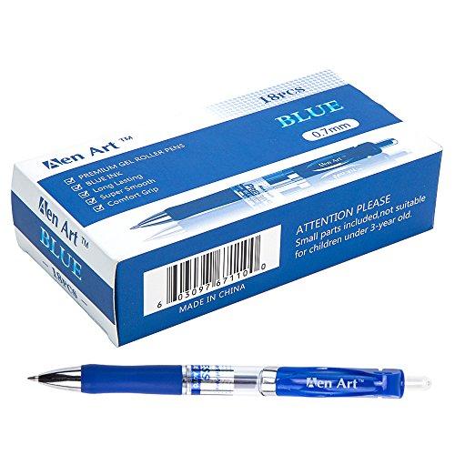 Aen Art Retractable Gel Ink Roller Ball Pens Fine Point Writing Pens Blue Ink Ballpoint Gel Pen with Grip 18-Pack