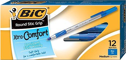 BIC Round Stic Grip Xtra Comfort Ball Pen Medium Point 12 mm Blue 12-Count