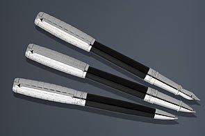 ST Dupont Elysee Duotone Fountain Pen - Black LacquerPalladium Medium Nib 410670M