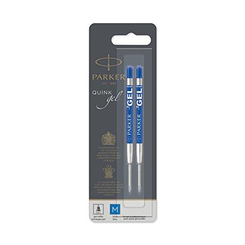 PARKER QUINK Ballpoint Pen Gel Ink Refills Medium Tip Blue 2 Count