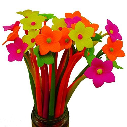 BUOP Novelty Design Daffodil Flower Style Ball Point Pen Cute Cartoon Silicone Flower Fine Point Black Rollerball Gel Ink Pen Two Dozen 24pcs Box