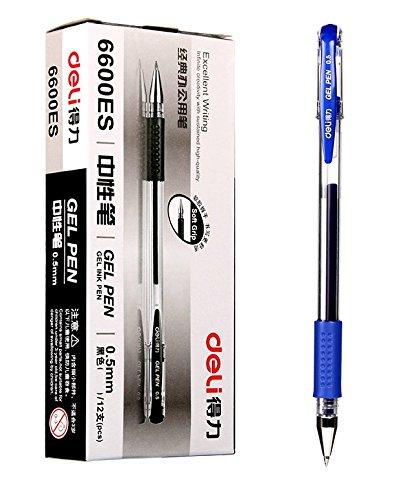GlobalDeli- Premium Quality Gel Ink Roller Ball Pens Pack of 12 Blue Color Pen Set Fine Point 05mm Inky Gel Rollerball Pens