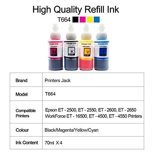 PJ Compatible Epson T664 Refill Ink Bottle kit for Expression ET-2650 ET-2500 ET-2550 ET-2600 Workforce ET-16500 ET-4500 ET-4550 Printers