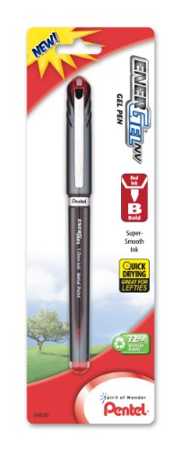 Pentel EnerGel NV Liquid Gel Pen 10mm Bold Line Capped Metal Tip Red Ink 1 Pack BL30BPB