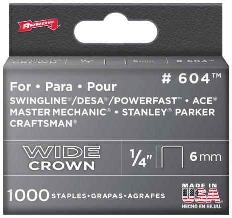 5 Pack Arrow Fastener 604 14 Heavy Duty Wide Crown Staples 1000 per Package