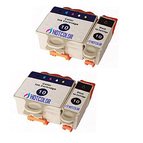 HOTCOLOR TM 4Pk 2xBlack2xTri-colour Compatible ink cartridges for Kodak 10 10 10XL Black Color Printer Ink Cartridges for Easyshare 5100 5300 5500 ESP 3 5 7 9 3250 5250 6150 7250 9250