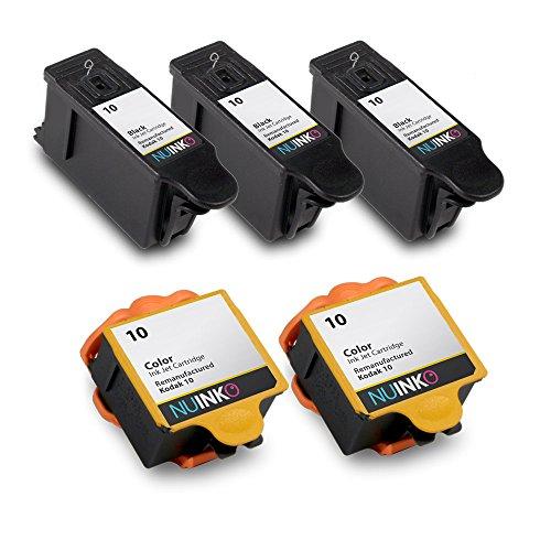 NUINKO 5 Pack Compatible Kodak 10 Ink Cartridges Black and Color for Kodak ESP 3250 ESP 5250 ESP 7250 ESP 3 ESP 5210 HERO 71 HERO 91 EasyShare 5300 Inkjet Printers