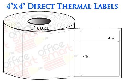 4x4 Direct Thermal Labels for Zebra GC420d GC420t GK420d GK420t GX420d GX420t LP2844 LP2442 TLP2844 ZP450 Barcode Printer - 10 Rolls